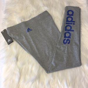 NWT Adidas Linear Tights Light Heather Gray/Blue